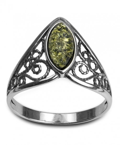 Sterling Silver Green Amber Classic Marquise Ring - C8118KLT6IP