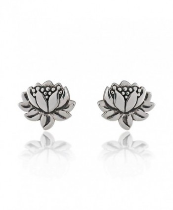 925 Sterling Silver Oxidized Detailed Lotus Flower Stud Earrings - C411NUV1EP3