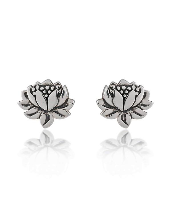 925 Sterling Silver Oxidized Detailed Lotus Flower Stud Earrings - C411NUV1EP3
