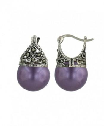 Sterling Silver Hoop Earring Marcasite Filigree Faux pearl - Purple - CA182Q0HCGQ