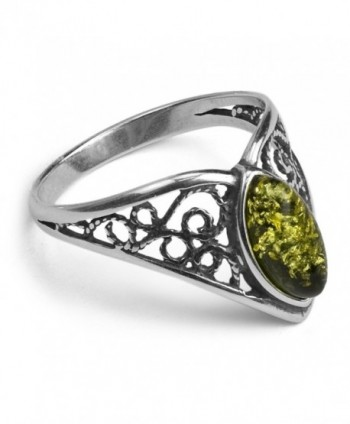 Sterling Silver Amber Classic Marquise