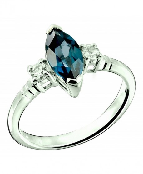 Sterling Silver 925 Ring LONDON BLUE TOPAZ and WHITE TOPAZ 1.60 Carats with Rhodium-Plated Finish - C8182OMQMQ8