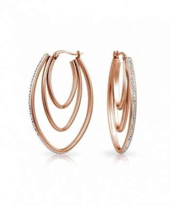 Bling Jewelry Large Triple Hoop Crystal Earrings Rose Gold Plated Steel - CE12ITIWR6V