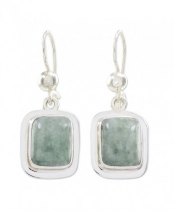 NOVICA Green Jade and .925 Sterling Silver Rectangular Dangle Earrings- 'Modern Maya' - CF127Y1RQU1