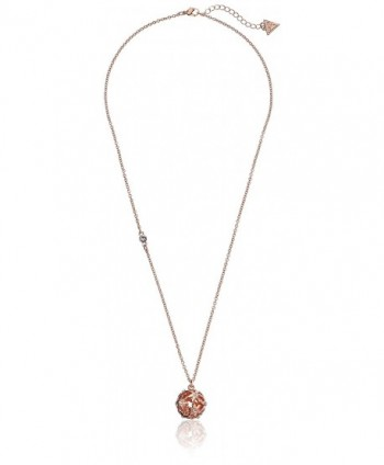 "GUESS ""Basic"" Floral Ball Pendant Necklace - Rose Gold - CX11BAKQGNP"