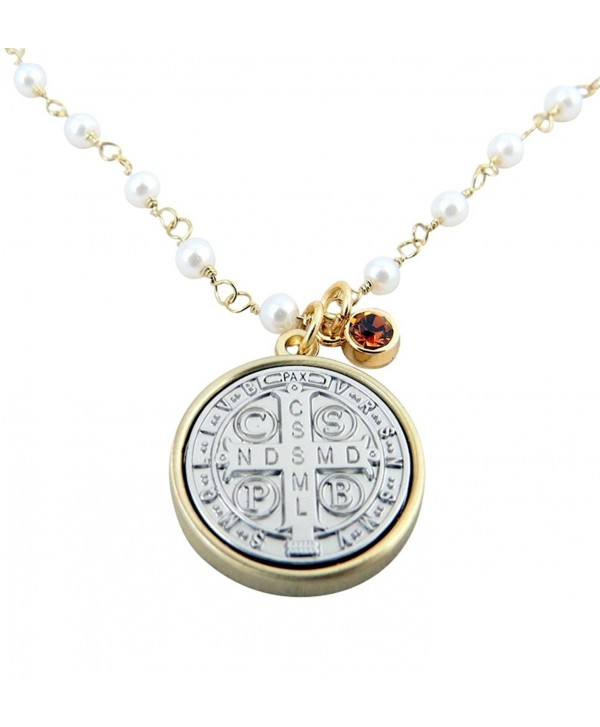 Vintage Blessings Gold and Silver Toned Base Saint Benedict Medal Necklace- 3/4 Inch - CG128PDEXFD
