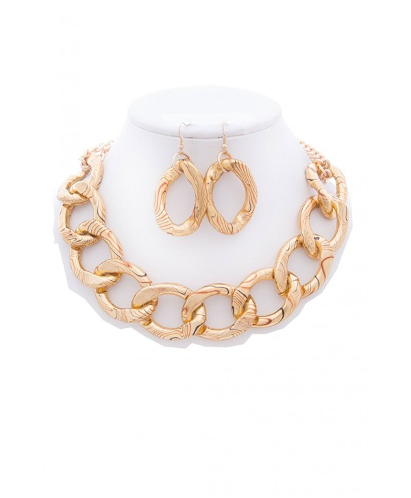 WOMEN'S FASHIONABLE ANIMAL PRINTED CHAIN NECKLACE AND EARRINGS SET - Designed In USA - GOLD - CI1852RMR99