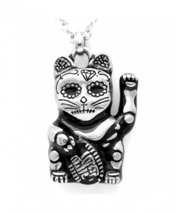 "Controse Silver-Toned Stainless Steel Day of the Dead Maneki-neko Necklace 28"" - CS12GK5D0LB"