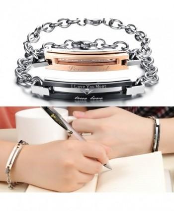 KONOV Stainless Womens Couples Bracelet in Women's Link Bracelets