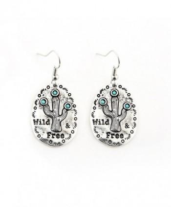 Sujarfla Cute Wild Cactus Metal Earring Pendant - silver - CJ18367ETIC