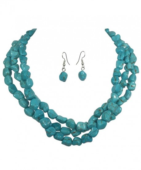 3 Row Imitation Turquoise Stone Beaded Layered Necklace And Earrings Set - CJ17YUYGEDH