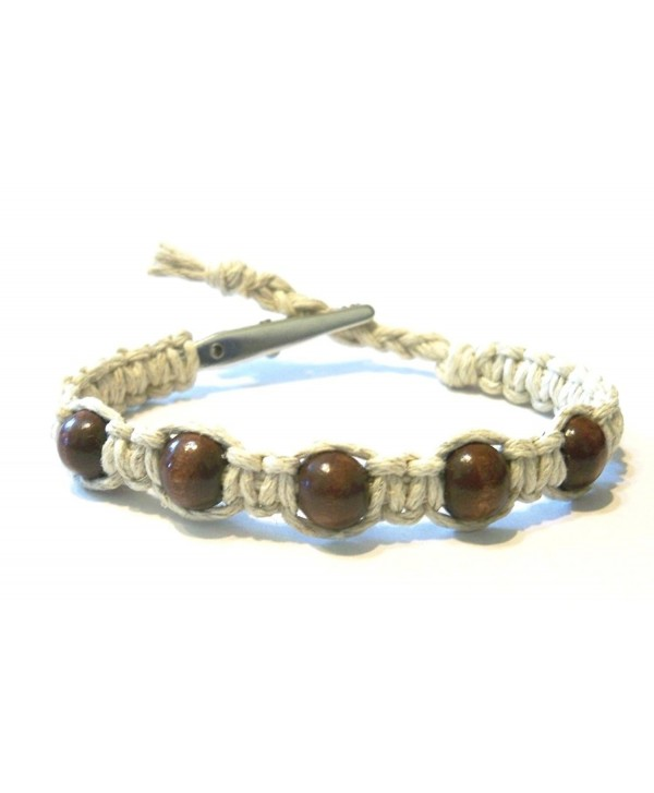 Brown Wood Beaded Adjustable Alligator Clip Hemp Bracelet - Handmade - C811JUAKL8N