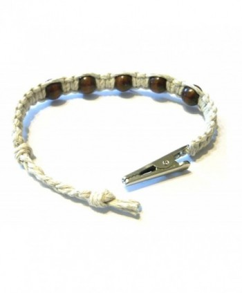 Brown Beaded Adjustable Alligator Bracelet