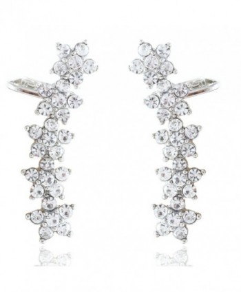 Boderier Ear Cuffs Earring Crystal Flowers Ear Crawler Hypoallergenic Stud Ear Climber Jackets - Silver - C2184QYQCTE