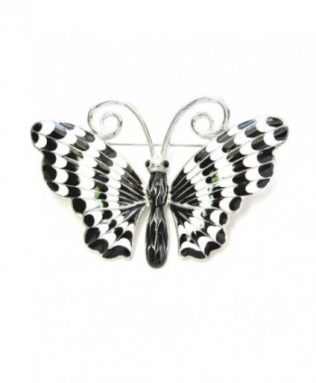 Faship Gorgeous Black White Enamel Butterfly Pin Brooch - C011S806CVH