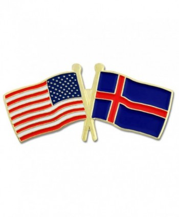 PinMart's USA and Iceland Crossed Friendship Flag Enamel Lapel Pin - CB119PEPCQV