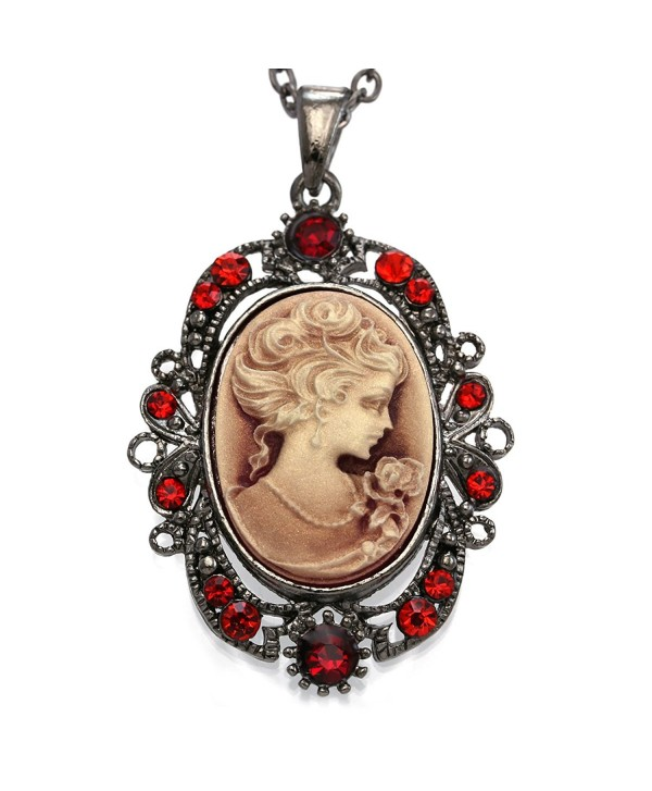 Dark Red Cameo Pendant Necklace Charm Women Fashion Jewelry - CO118ZJPHG7