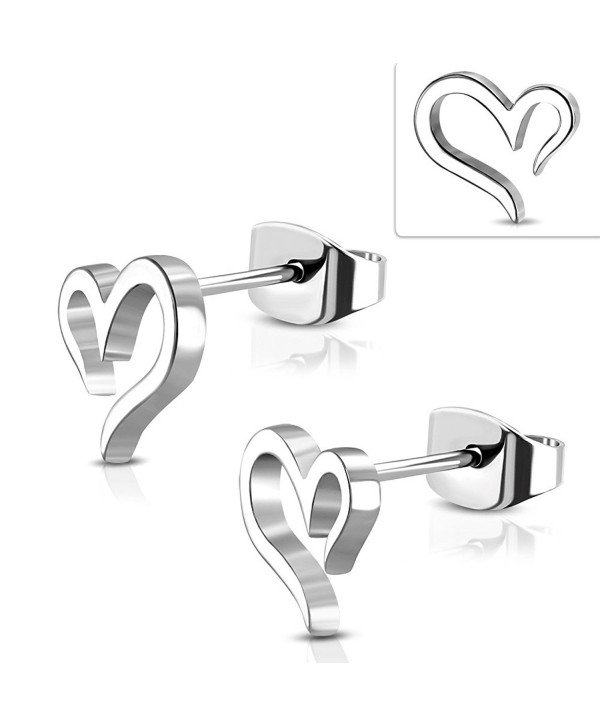 Stainless Steel Spiral Open Love Heart Stud Earrings (Pair) - CA188SN9NK8