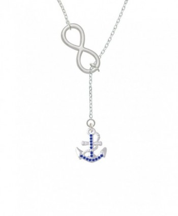"Silvertone Blue Crystal Anchor Infinity Lariat Necklace- 18""+2"" - C111M2FQ9DF"