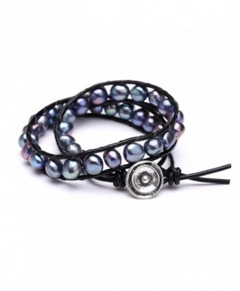 Aobei Pearl Freshwater Cultured Black Pearl Bracelets Multi Wraps Stackable Leather Jewelry - C6121ME9LMR