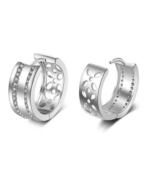 XZP Hollow Earring Cubic Zirconia Huggie Earrings for Women Simple Jewelry - CN1883IS5WY