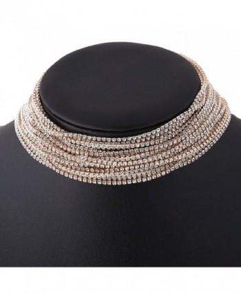 Glamaker Women's Wide Diamond Neck Rhinestone Choker Necklace - gold - CN17XE2HZT4
