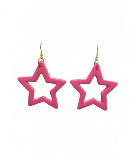 80's Star Earrings Hot Pink - C7113NWWOD5