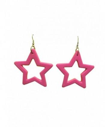 80s Star Earrings Hot Pink