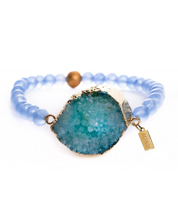 "Agenda Druzy Natural Stretch Bracelet Aquamarine Beads 9"" - C912NSSRBSU"