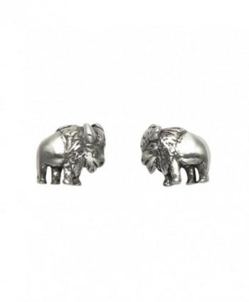 Tiny Sterling Silver Buffalo Stud Earrings - C711G96Y98F