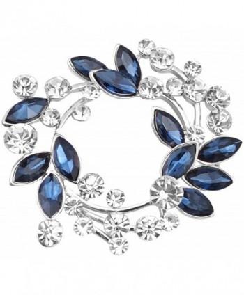 Gyn&Joy Clear Crystal Rhinestone Floral Wreath Pin Brooch BZ005 - Silvery Tone Plated - CN180E5NHI8