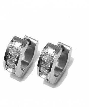 Ben Junot USA: 316L Stainless Steel 4 Princess Cut CZ Stones 15MM Hoop Earrings - C211TMUN87D