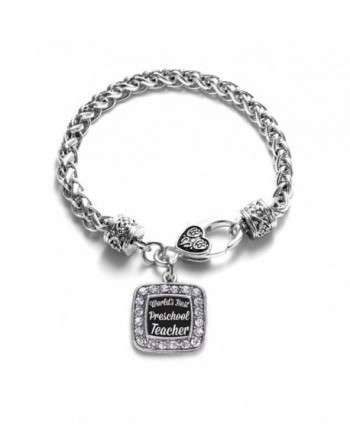 World's Best Preschool Teacher Classic Silver Plated Square Crystal Charm Bracelet - CZ11U7O3NJ1