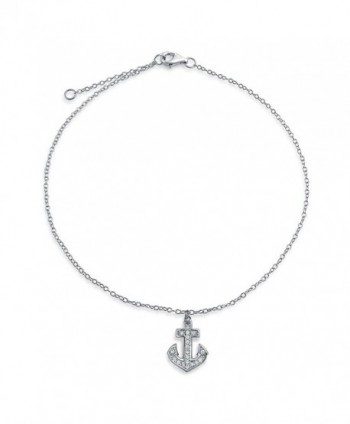 Bling Jewelry 925 Sterling Silver Cubic Zirconia Anchor Charm Anklet 10in - CI114XZBXDX