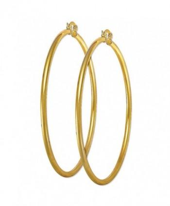 "3.5"" Plain Hoop 14K Yellow Gold Plated Hoop Earrings Size 6 - CU12MX7BGUX"