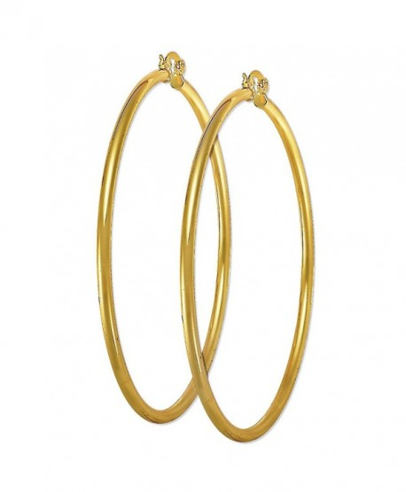 "3.5"" Plain Hoop 14K Yellow Gold Plated Hoop Earrings Size 6 - CU12MX7BGUX"