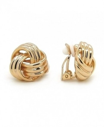 Sparkly Bride Love Knot Clip On Earrings Gold Plated Women Fashion - CL11NF26H4F