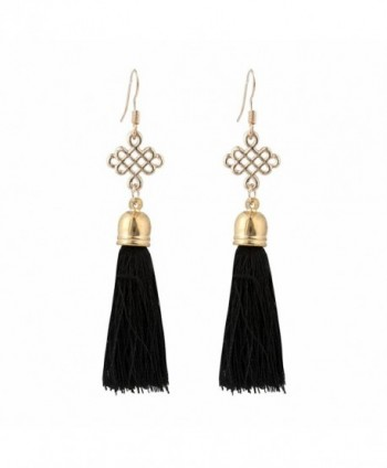 Buyinheart 5 Colors Fish Hook Chinese knot Long Dangle Tassel Earrings for Women's Girls Party Jewelry - Black - CV183D88L9U