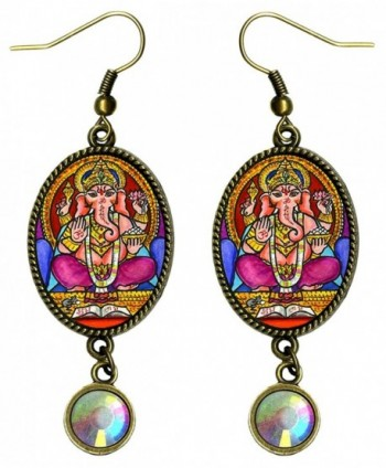 Lord Ganesh God of Intellect Wisdom Bronze Iridescent Rhinestone Earrings - CB1215QA9MH