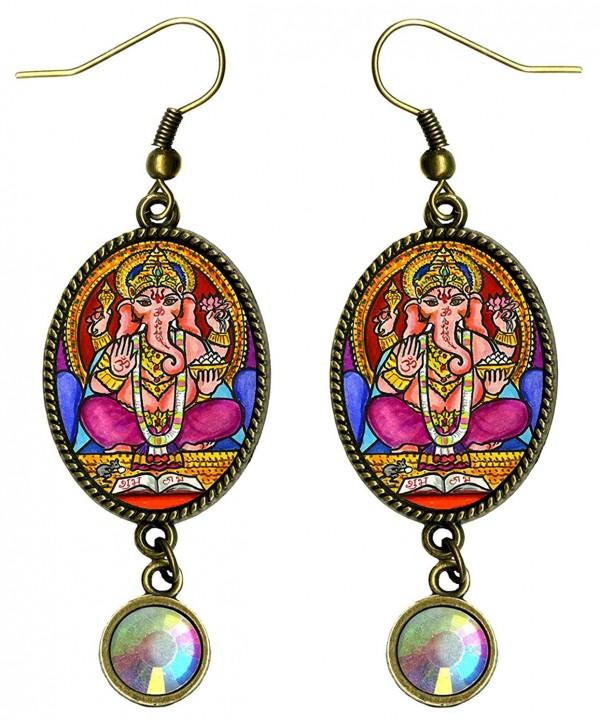Lord Ganesh God of Intellect Wisdom Bronze Iridescent Rhinestone Earrings - CB1215QA9MH