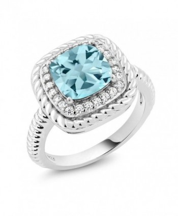 2.74 Ct Cushion Cut Sky Blue Topaz 925 Sterling Silver Engagement Ring (Available in size 5- 6- 7- 8- 9) - C7183N45YXQ