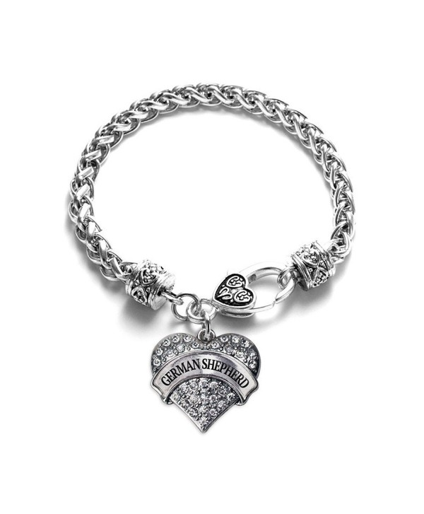 German Shepherd Pave Heart Bracelet Silver Plated Lobster Clasp Clear Crystal Charm - CY123HZF227