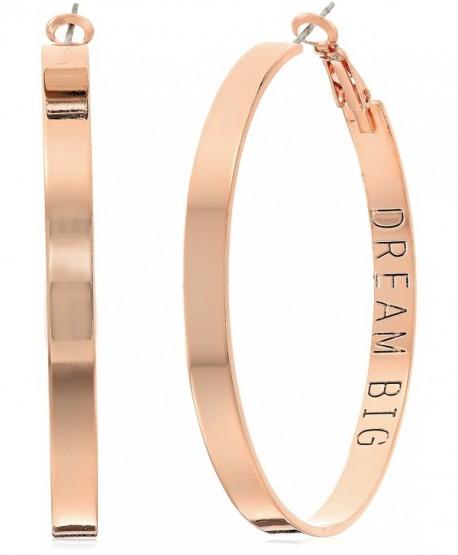 BCBG Generation with Dream Big Inscription Hoop Earrings - Rose Gold - C9184YNQQG2