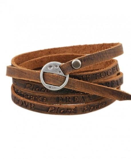 Leather Multi Double Wrap Cuff Bracelet Wristband Bangle Inspiration Men's Women's - Brown Inspiration - CS12N83P12X
