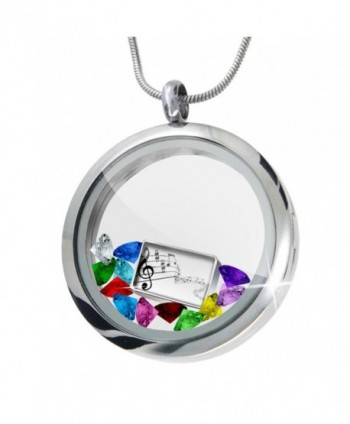 Floating Locket Set Music- notes + 12 Crystals + Charm- Neonblond - CT11I4Q70NJ