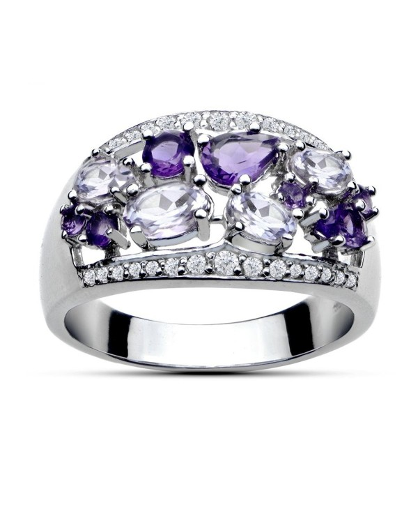 Sterling Silver 2.4ct TGW African Amethyst- Amethyst and White Topaz Tonal Band Ring - C412IPO81M3