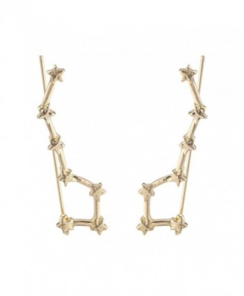 Lux Accessories Gold Tone Celestial Star Cuff Ear Creeper Threader Earrings - CB186387OQC