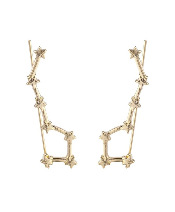 Lux Accessories Gold Tone Celestial Star Cuff Ear Creeper Threader Earrings - CB186387OQC