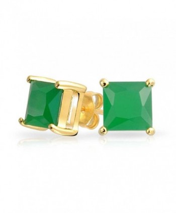 Bling Jewelry Square CZ Princess Cut Simulated Jade Stud earrings Gold Plated 7mm - CF11HNTZHRJ
