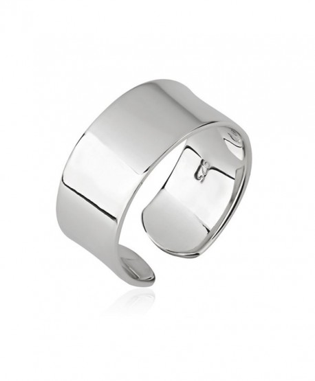 925 Sterling Silver Plain Wide Band Shiny Polished Wrap Around Knuckle Midi or Thumb Ring- 8mm - CF186TLXEGT